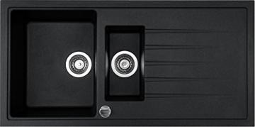 Granitspüle V1000 schwarz inkl. Drehexcenter Ab- und Überlaufgarnitur reversibel ab 60 er Unterschrank mit Restebecken u. Siebkorbventil - 2