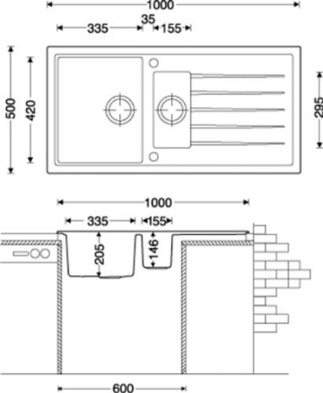 Granitspüle V1000 schwarz inkl. Drehexcenter Ab- und Überlaufgarnitur reversibel ab 60 er Unterschrank mit Restebecken u. Siebkorbventil - 3